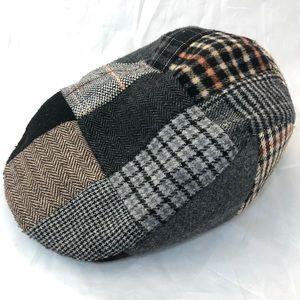 Patchwork Wool Flat Cap XL